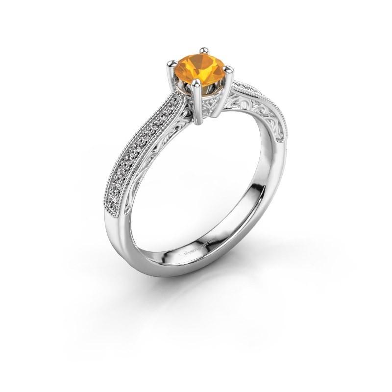 Belofte ring Shonta RND 585 witgoud citrien 4.7 mm
