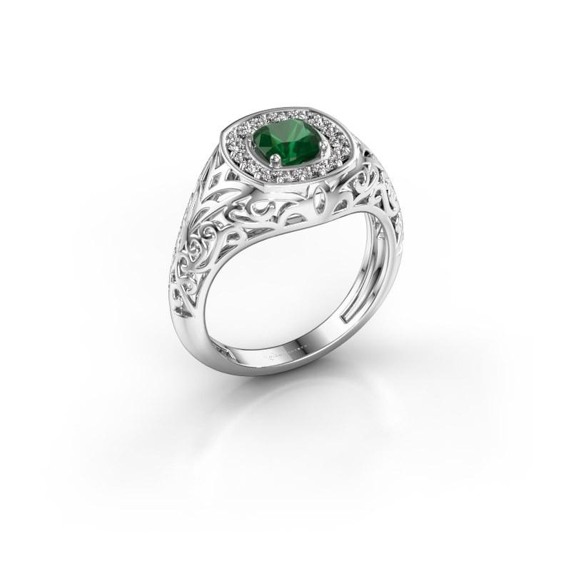 Men's ring Quinten 950 platinum emerald 5 mm
