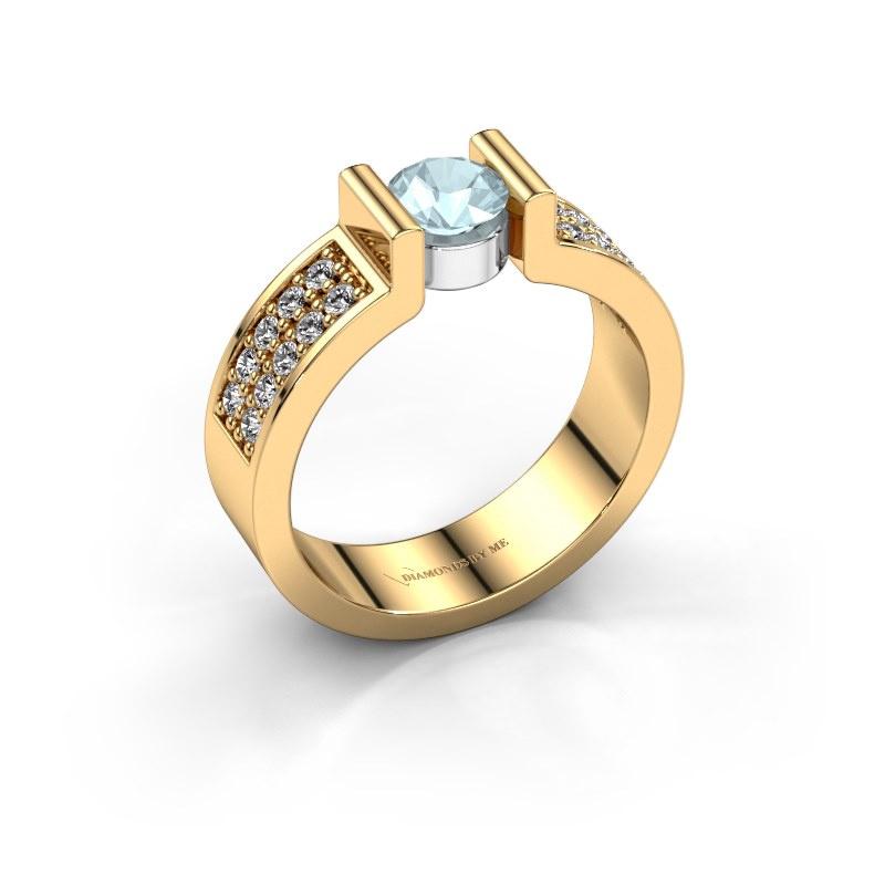 Verlovingsring Isabel 3 585 goud aquamarijn 5 mm
