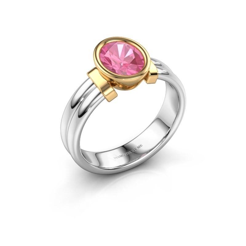 Ring Gerda 585 witgoud roze saffier 8x6 mm