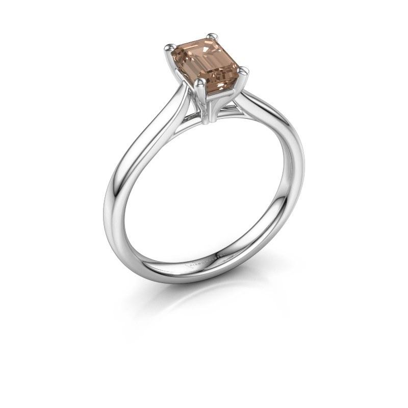 Verlovingsring Mignon eme 1 950 platina bruine diamant 0.90 crt