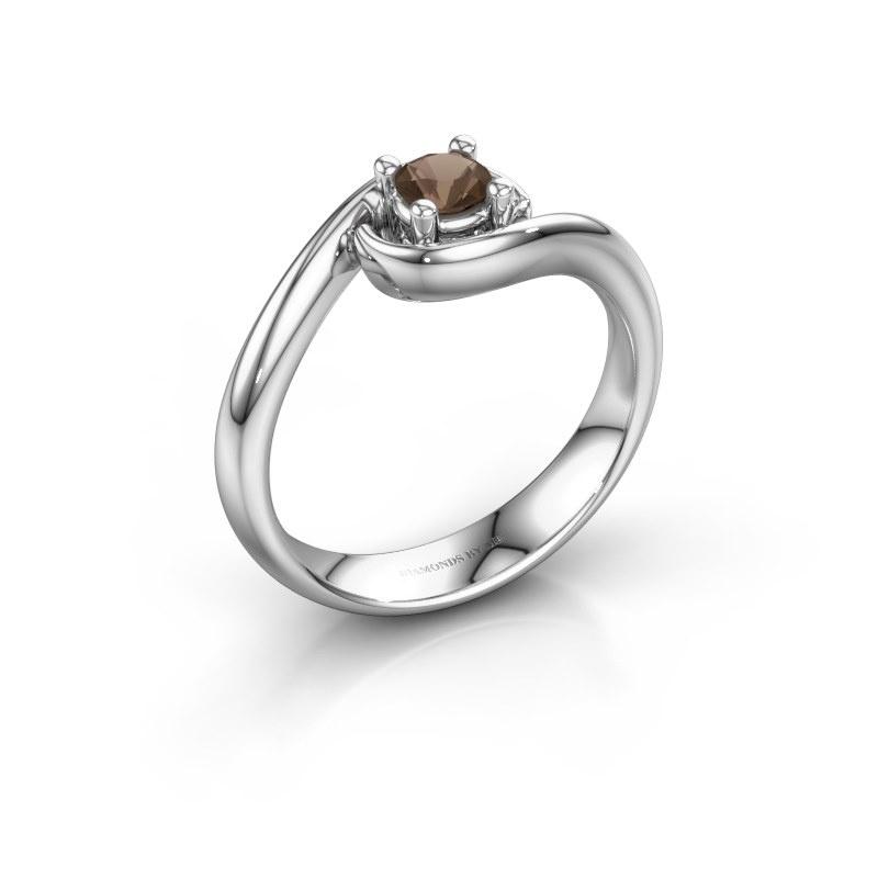 Ring Linn 585 white gold smokey quartz 4 mm