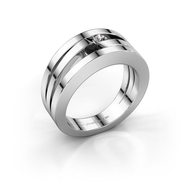 Ring Valerie 925 zilver zwarte diamant 0.176 crt