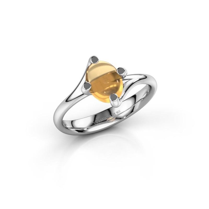 Ring Nora 950 platina citrien 8x6 mm