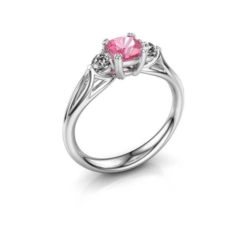 Verlobungsring Amie cus 585 Weißgold Pink Saphir 5 mm