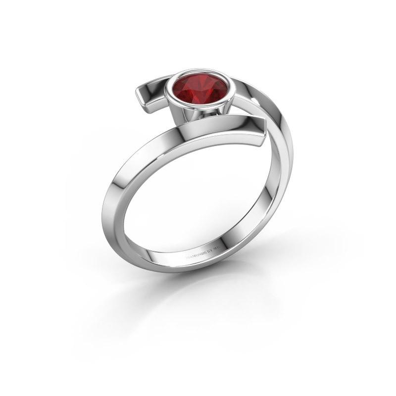 Ring Mara 925 zilver robijn 5 mm