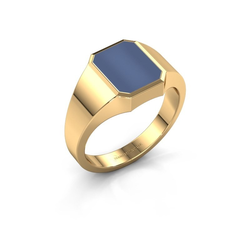 Zegelring Lars 1 F 585 goud blauw lagensteen 10x8 mm