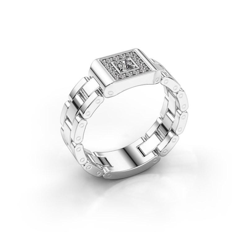 Herrenring Giel 585 Weißgold Diamant 0.20 crt