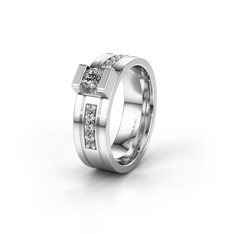 Trouwring WH2092L16BP 950 platina diamant ±6,5x2 mm