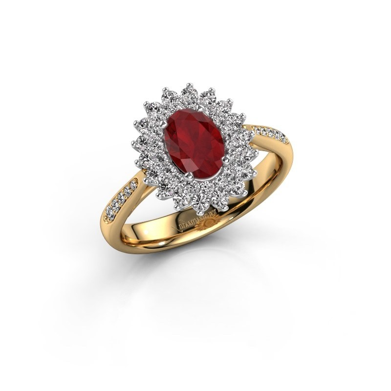 Engagement ring Alina 2 585 gold ruby 7x5 mm