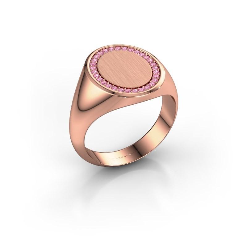 Heren ring Floris Oval 4 375 rosé goud roze saffier 1.2 mm