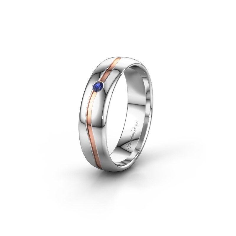 Wedding ring WH0905L35X 585 white gold sapphire ±5x1.7 mm