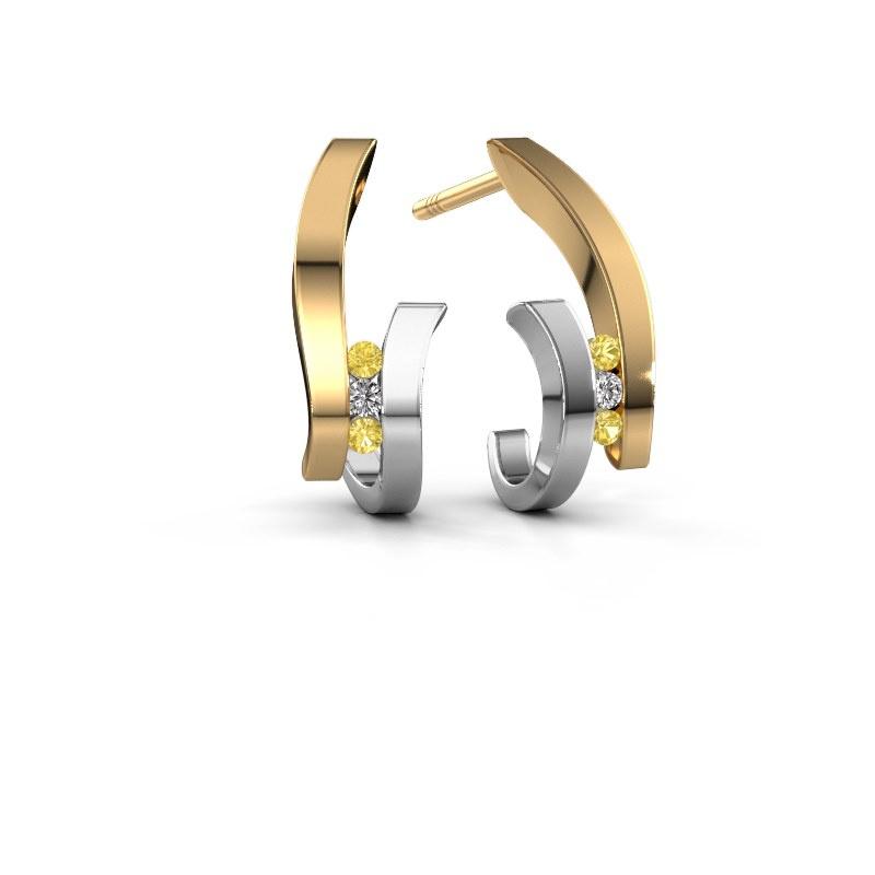 Oorbellen Juliette 585 goud gele saffier 1.5 mm
