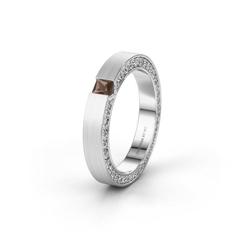 Wedding ring WH2140L14B 925 silver smokey quartz ±3,5x2 mm