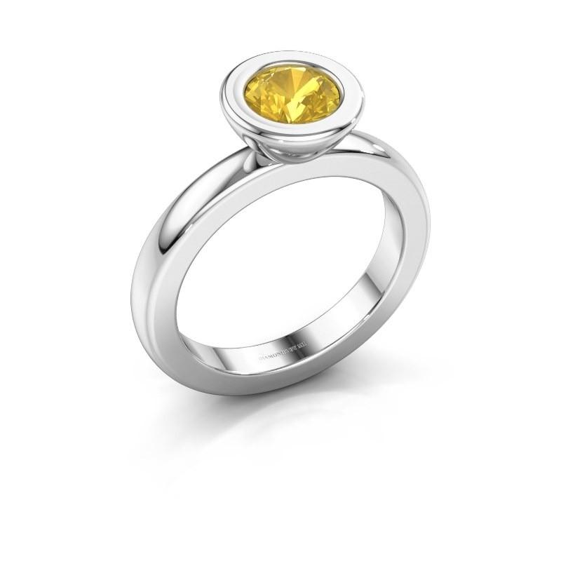 Stapelring Eloise Round 925 zilver gele saffier 6 mm