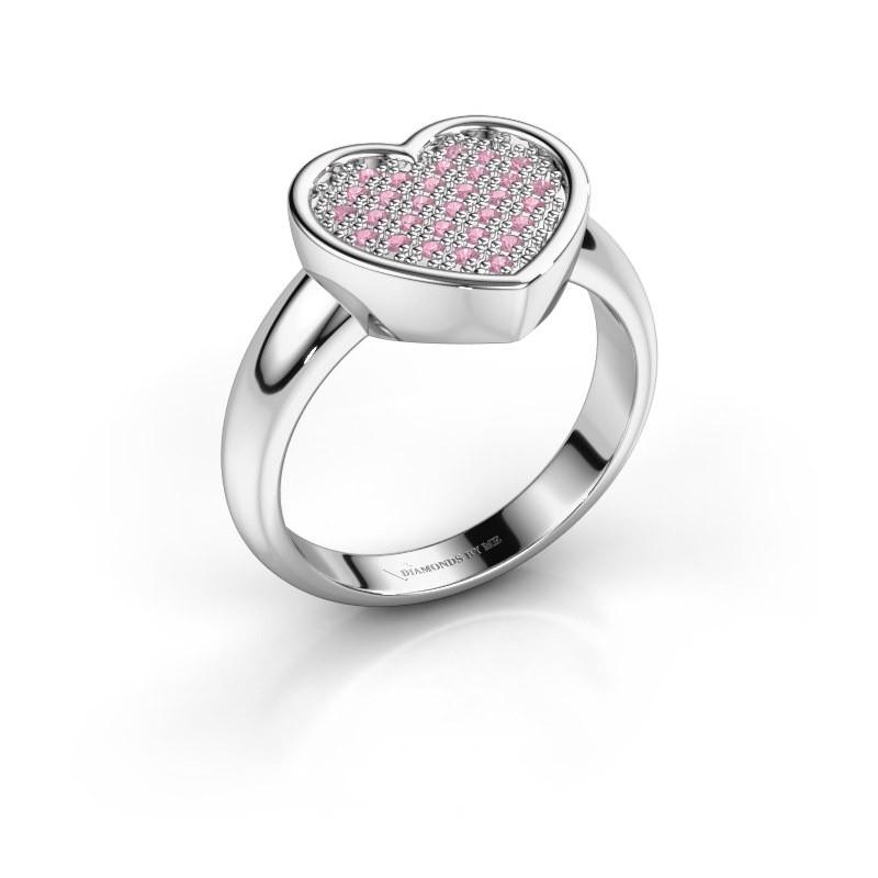 Ring Veerle 585 witgoud roze saffier 1 mm