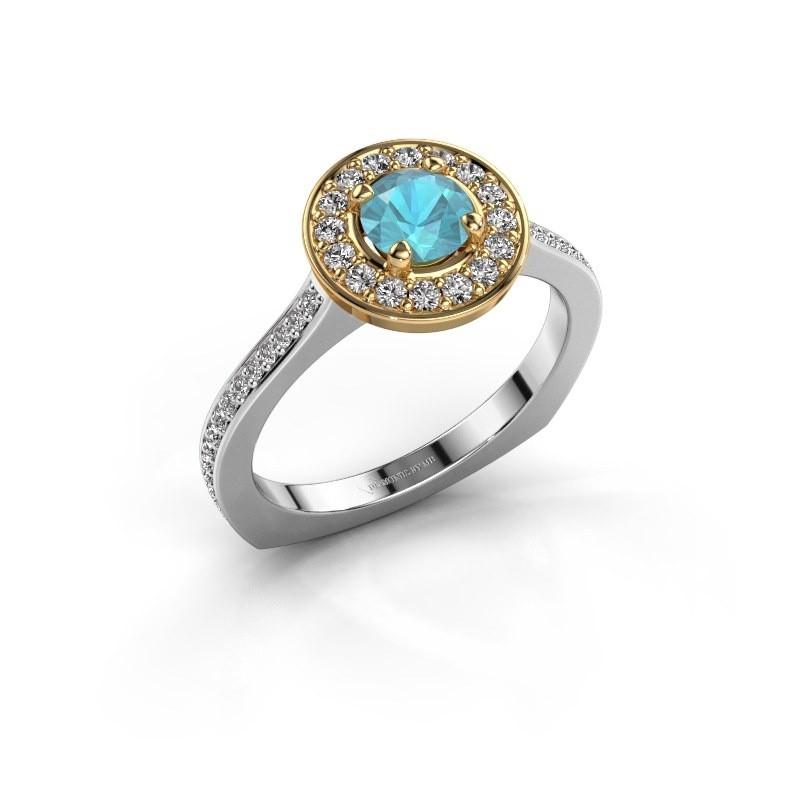 Ring Kanisha 2 585 witgoud blauw topaas 5 mm