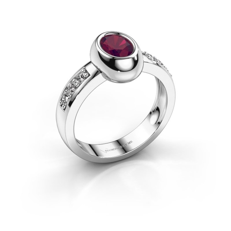 Ring Charlotte Oval 585 white gold rhodolite 7x5 mm