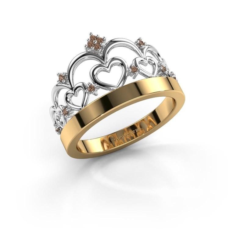 Ring Kroon 1 585 goud bruine diamant 0.06 crt