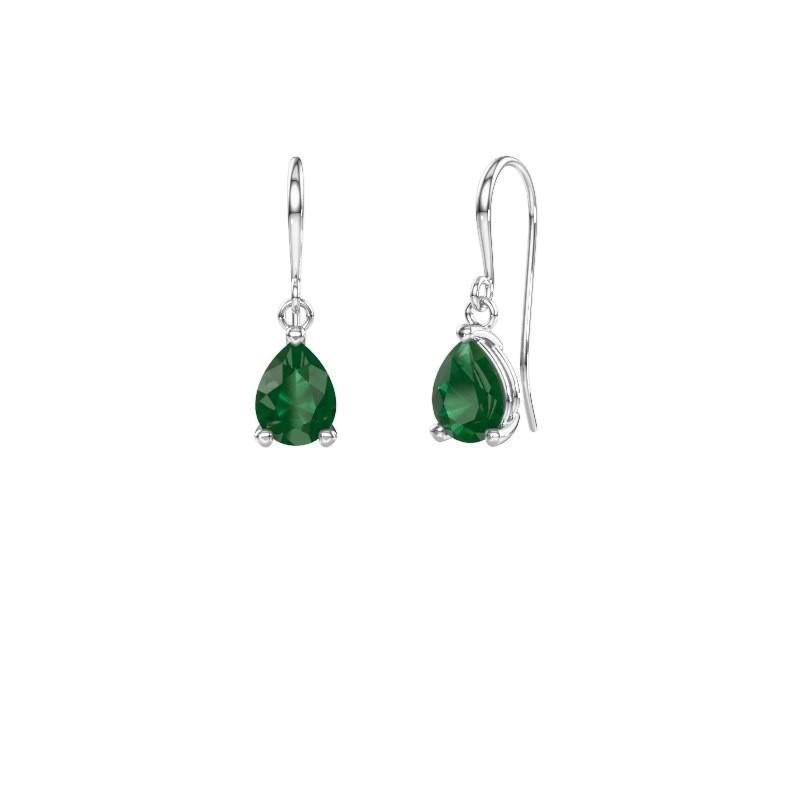 Drop earrings Laurie 1 950 platinum emerald 8x6 mm