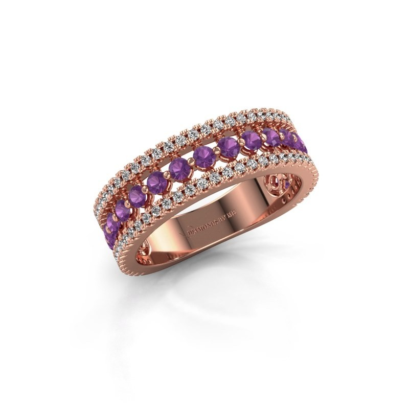 Verlovingsring Elizbeth 1 585 rosé goud amethist 2 mm