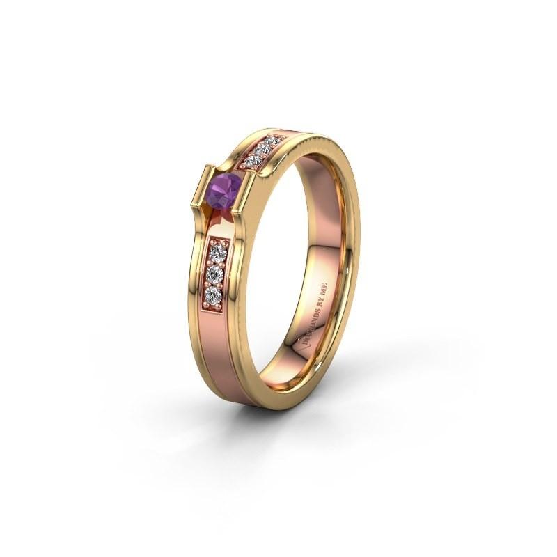 Trouwring WH2110L14A 585 rosé goud amethist ±4x1.7 mm