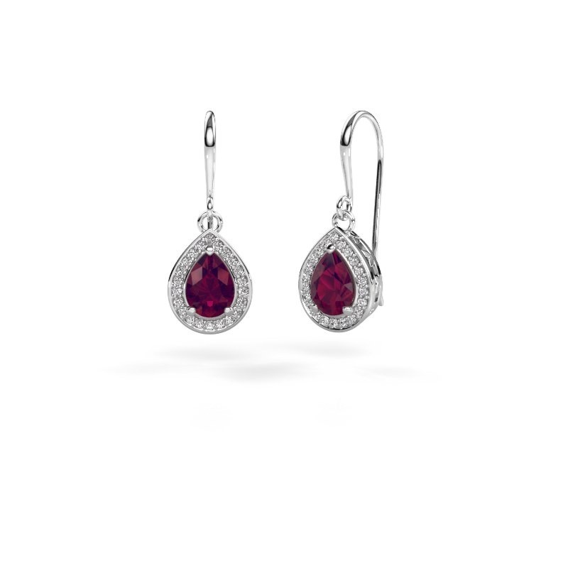 Drop earrings Beverlee 1 585 white gold rhodolite 7x5 mm