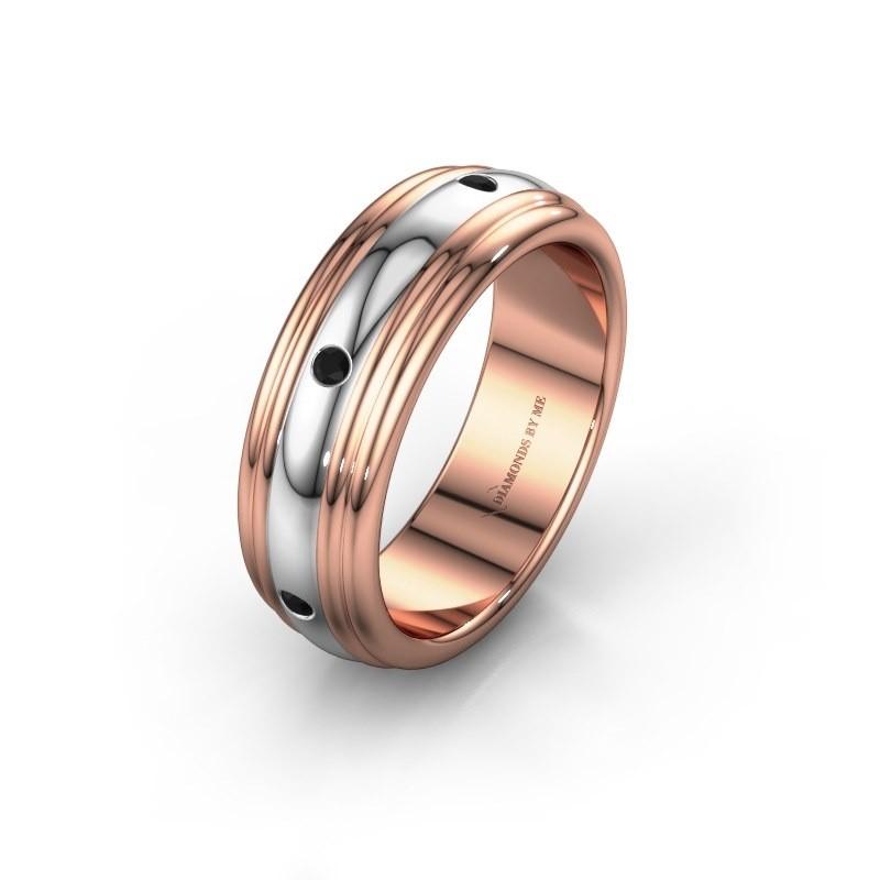 Trouwring WH2236L 585 rosé goud zwarte diamant ±6x2.2 mm
