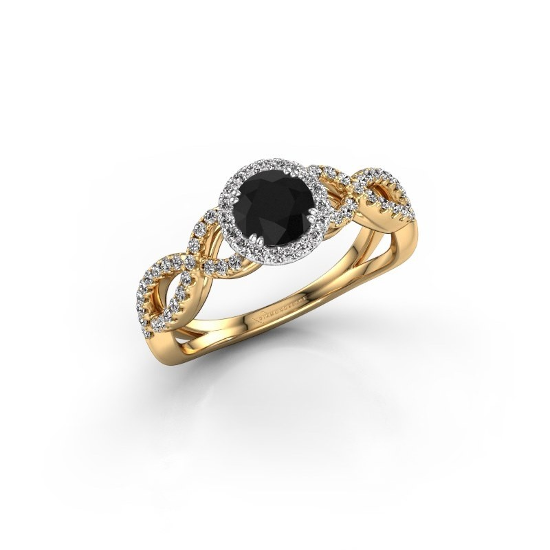 Engagement ring Dionne rnd 585 gold black diamond 0.920 crt
