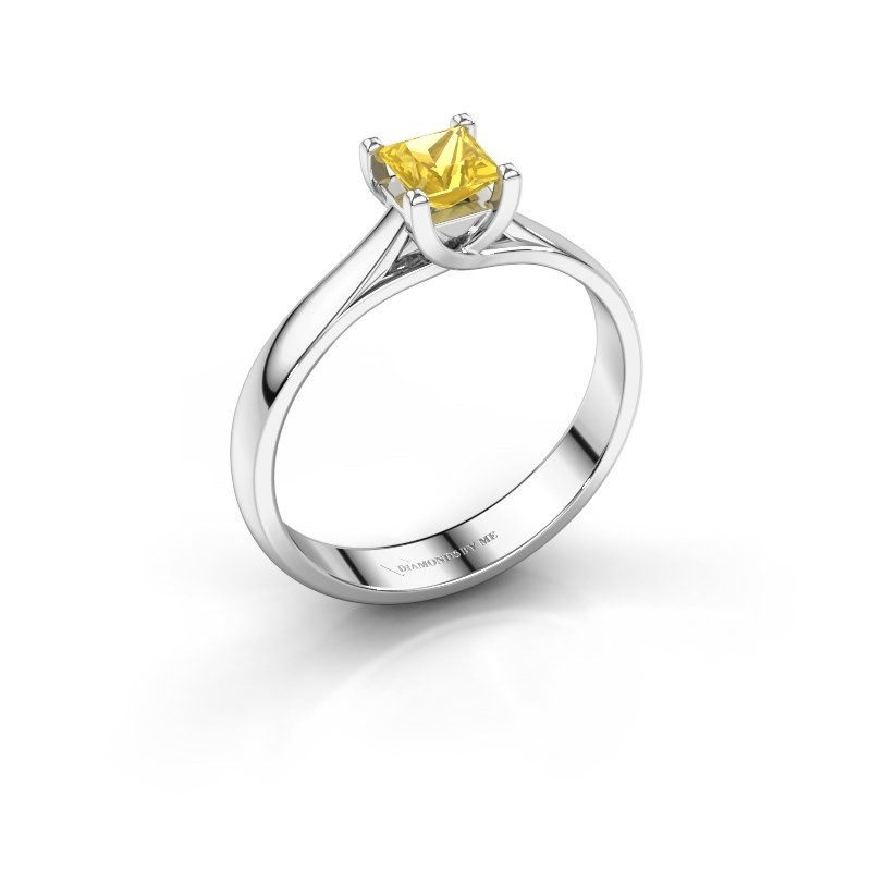 Engagement ring Mia Square 585 white gold yellow sapphire 4 mm