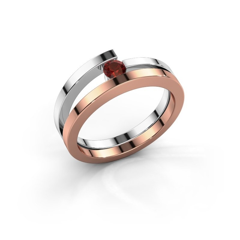 Ring Sandy 585 rosé goud granaat 3.4 mm