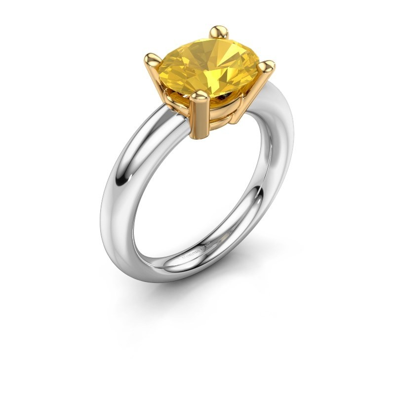 Ring Janiece 585 white gold yellow sapphire 10x8 mm