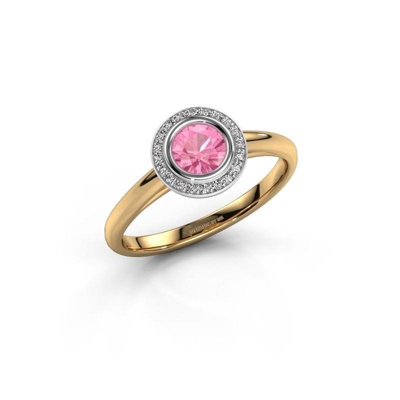 Promise ring Noud 1 RND 585 goud roze saffier 4.7 mm