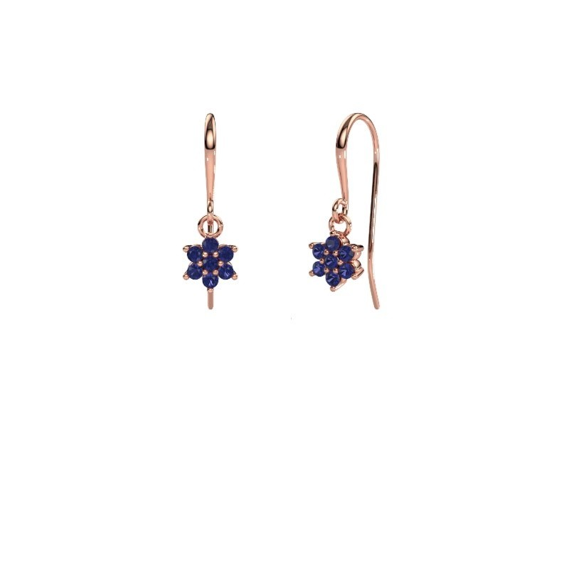 Drop earrings Dahlia 1 375 rose gold sapphire 1.7 mm