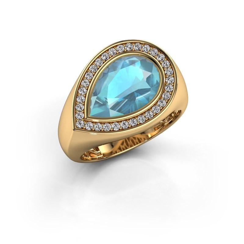 Ring Latashia 585 goud blauw topaas 12x8 mm