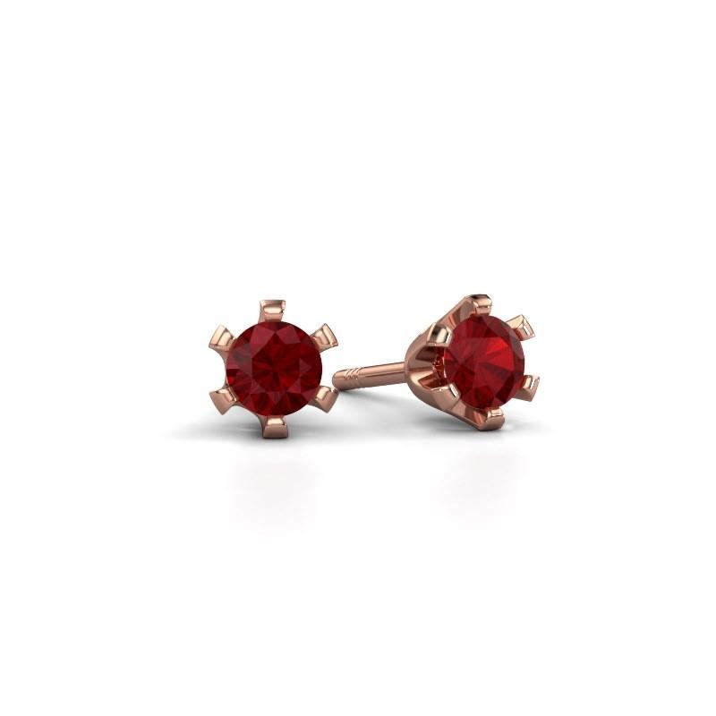 Stud earrings Shana 375 rose gold ruby 4 mm