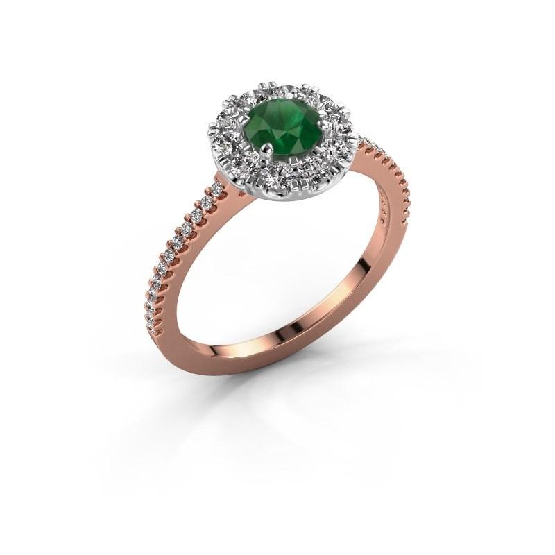 Verlobungsring Misti 2 585 Roségold Smaragd 5 mm