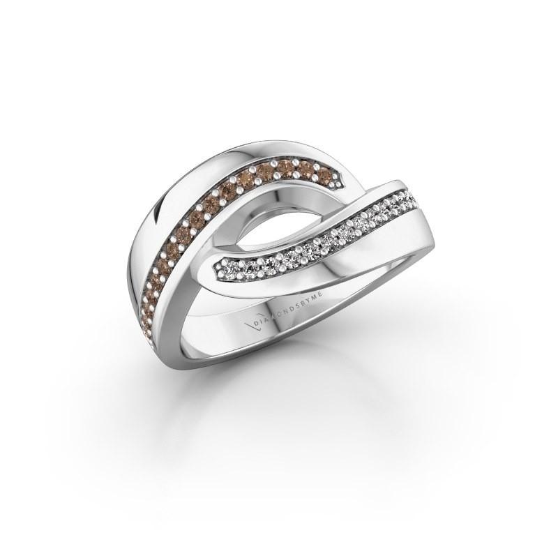 Ring Sharita 585 witgoud bruine diamant 0.24 crt
