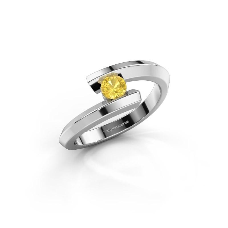 Ring Paulette 925 zilver gele saffier 3.4 mm