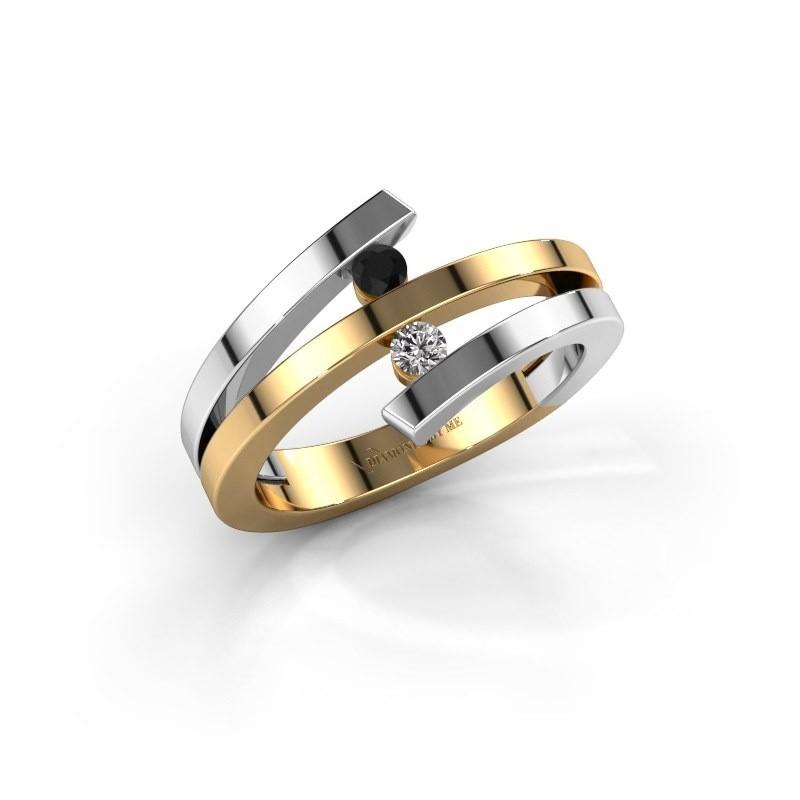 Ring Synthia 585 goud zwarte diamant 0.132 crt