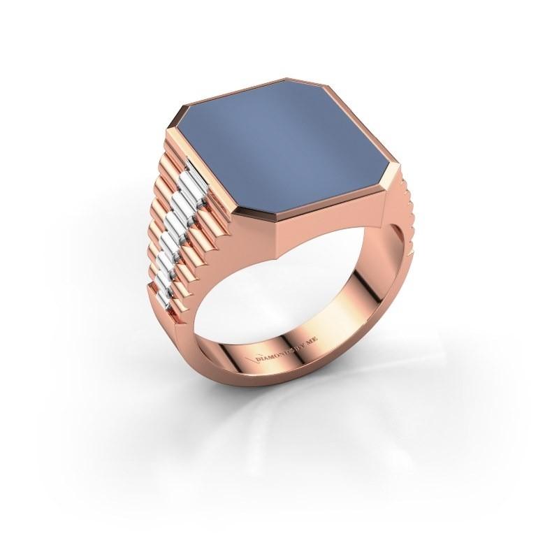 Rolex stijl ring Brent 4 585 rosé goud licht blauwe lagensteen 16x13 mm