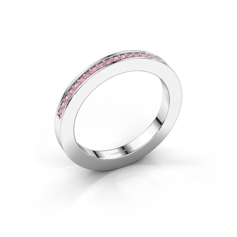 Stackable ring Loes 2 925 silver pink sapphire 1.1 mm