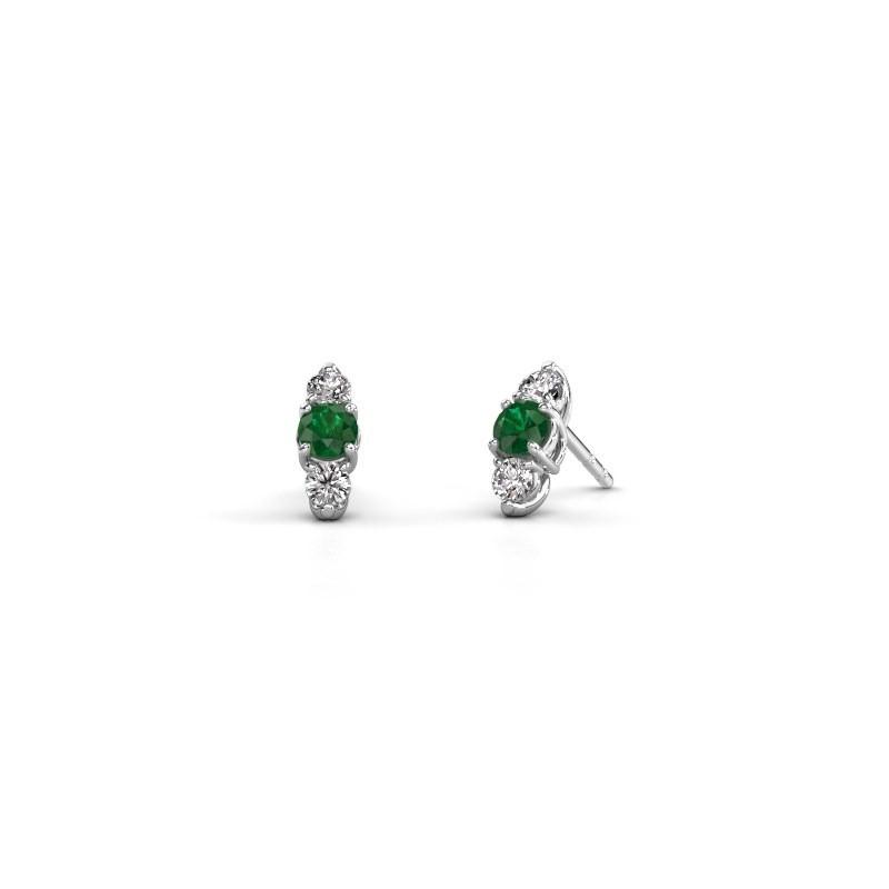 Oorbellen Amie 585 witgoud smaragd 4 mm