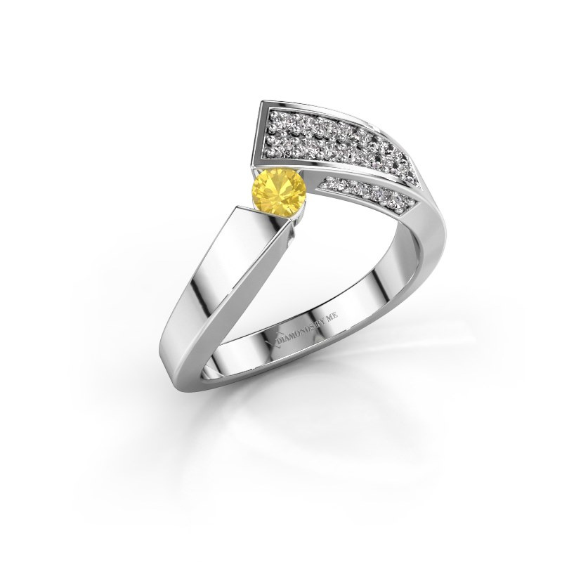 Ring Evie 585 white gold yellow sapphire 3.4 mm