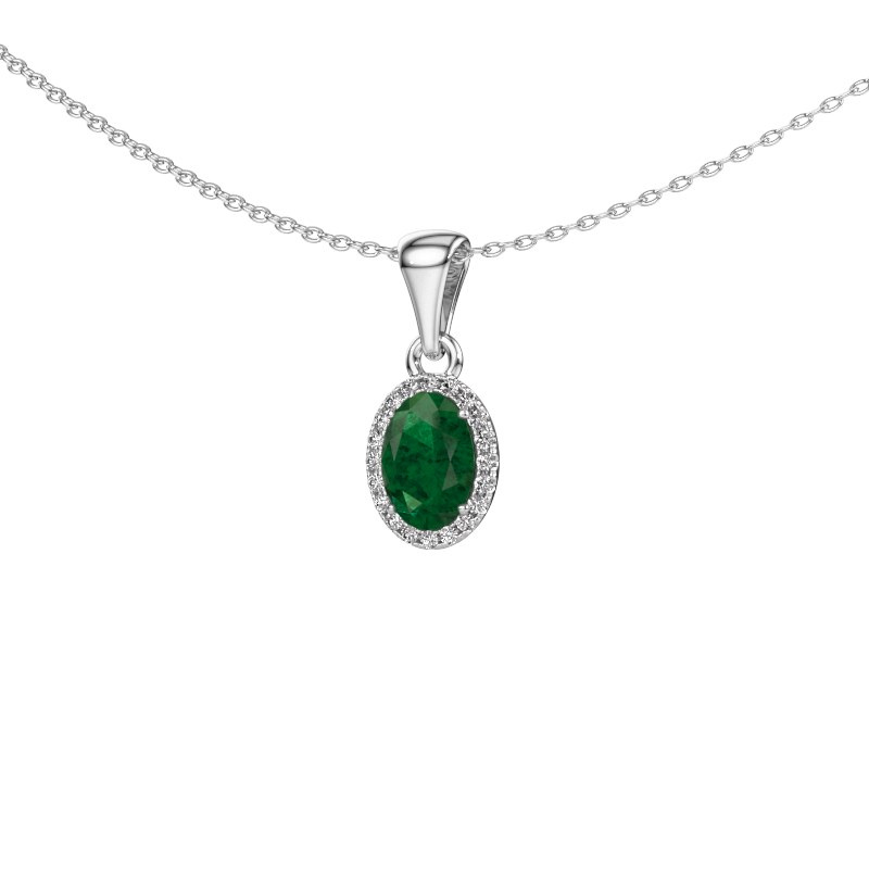 Hanger Seline ovl 925 zilver smaragd 7x5 mm