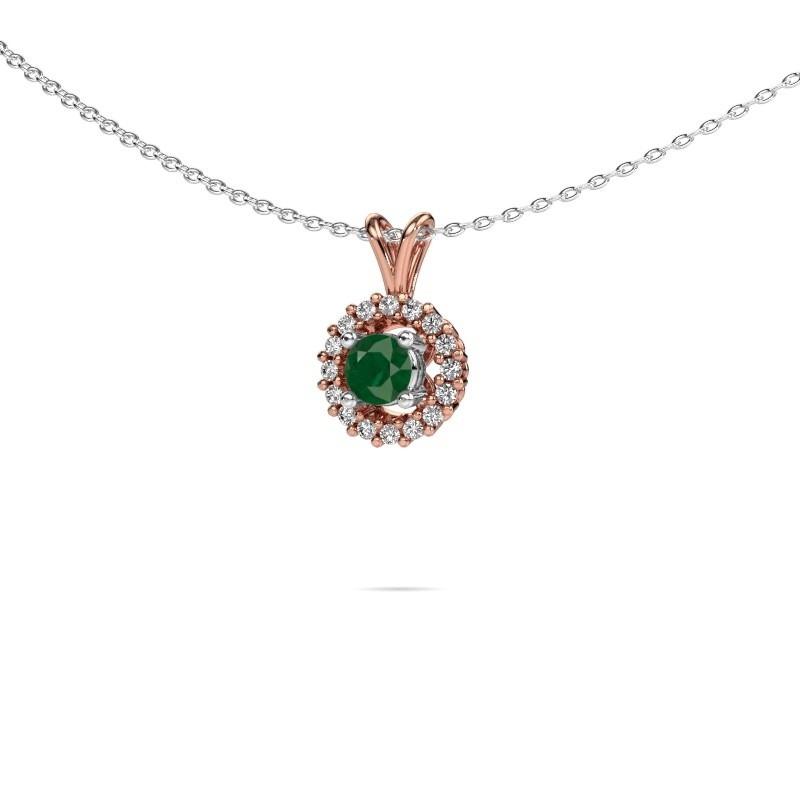 Pendant Tennille 585 rose gold emerald 4 mm