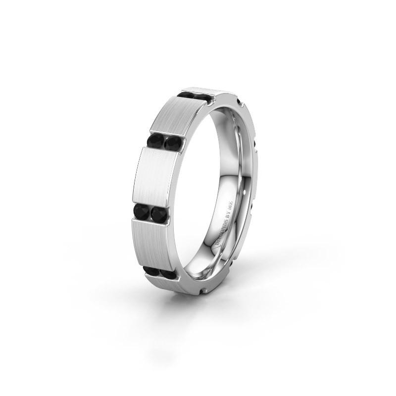 Huwelijksring WH2132L14BM 585 witgoud zwarte diamant ±4x2.2 mm