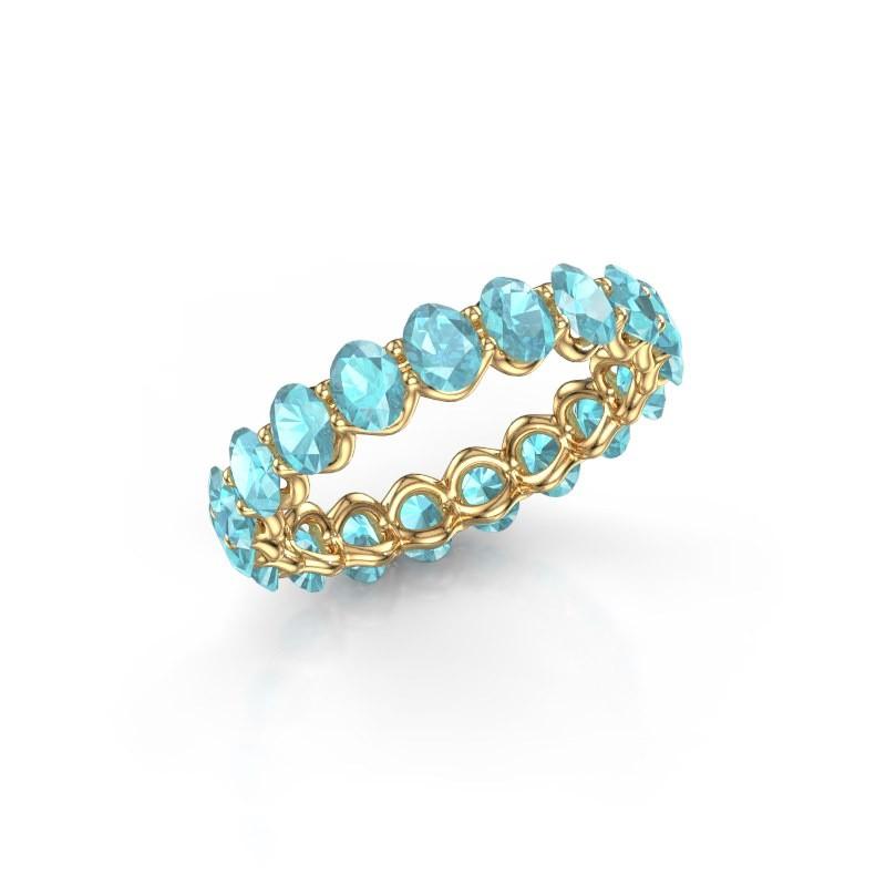 Ring Kirsten OVL 4x3 375 goud blauw topaas 4x3 mm