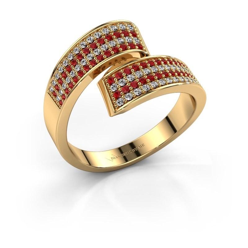 Ring Athena 375 goud robijn 1 mm