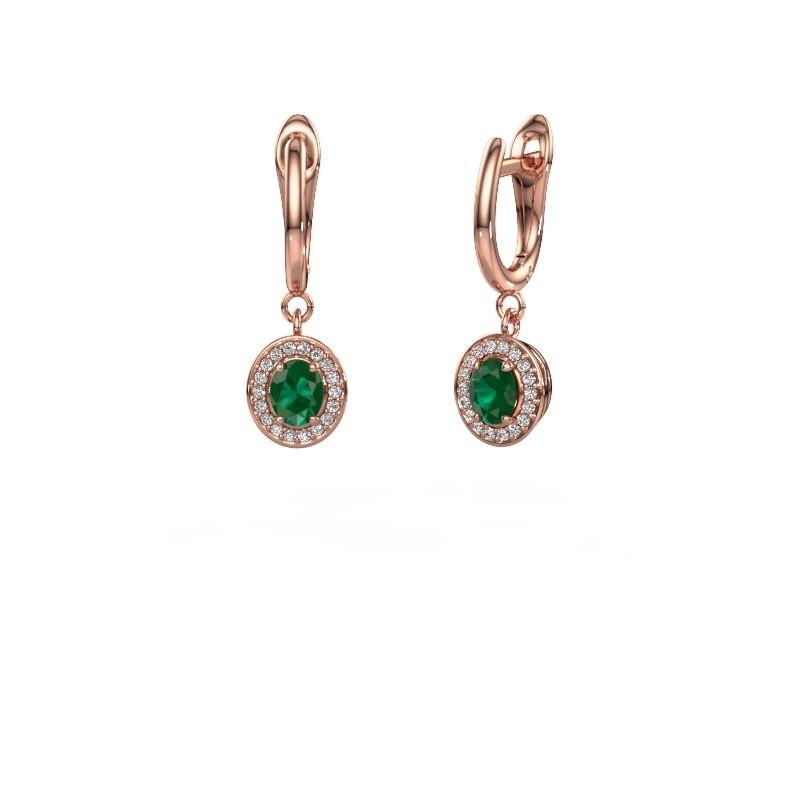Oorhangers Nakita 375 rosé goud smaragd 5x4 mm